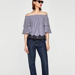 Zara off the shoulder lace detail blouse striped